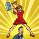 Woman Beats a Man with a Hammer - GraphicRiver Item for Sale