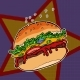 Fast Food Burger on a Star Background - GraphicRiver Item for Sale