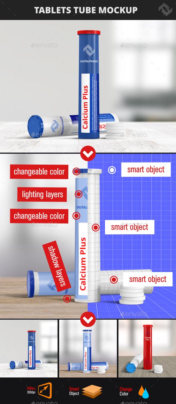 Effervescent Tablets Mock-Up - Packaging Product Mock-Ups