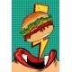 Woman Eating Burger. Pop Art Style. Female Mouth - GraphicRiver Item for Sale