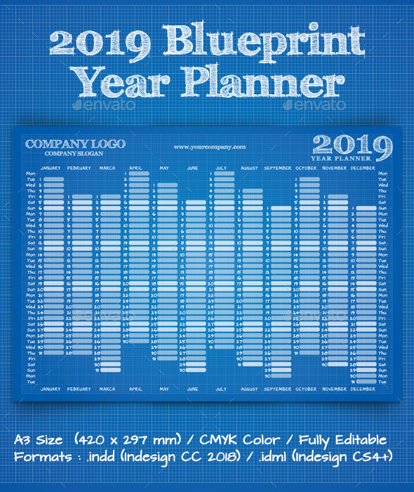 2019 Blueprint Year Wall Planner Calendar - Calendars Stationery