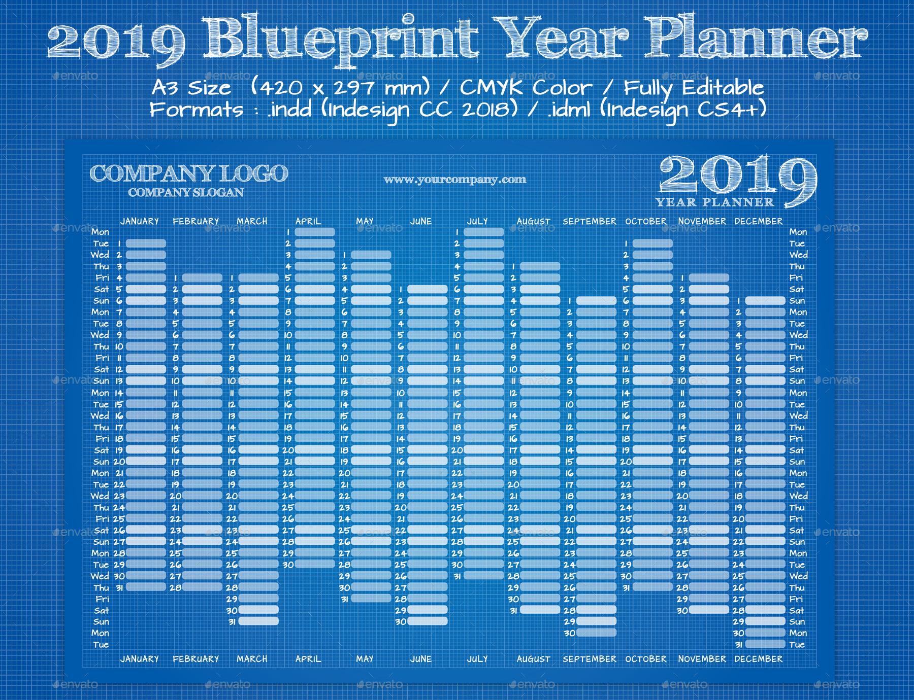 2019 blue print year wall calendar 1jpg 2019 blue print year wall calendar 2jpg