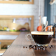 Coffee on wooden counter in cafe. - PhotoDune Item for Sale