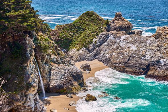 USA Pacific coast beach landscape, California - Stock Photo - Images