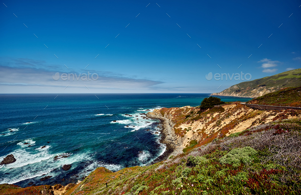Pacific coast landscape in California - Stock Photo - Images