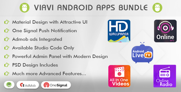 Viavi Top 5 Android Apps Bundle (TV, Radio, Wallpaper, MP3 & Videos) - CodeCanyon Item for Sale