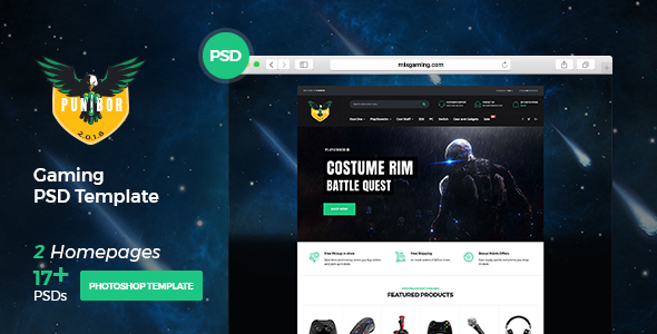 Punibor - Powerful Gaming PSD Template - Entertainment PSD Templates