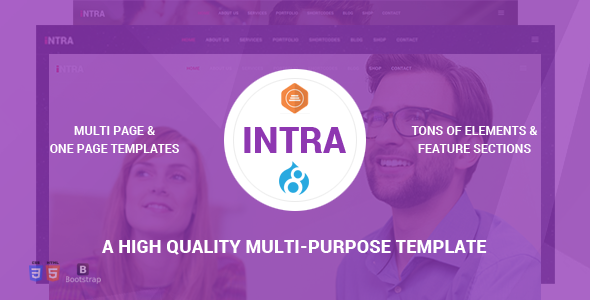 Intra - Multi-Page + One Page Multi-Purpose Drupal 8 Theme