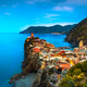 Vernazza village, aerial view on red sunset. Cinque Terre, Ligur - PhotoDune Item for Sale