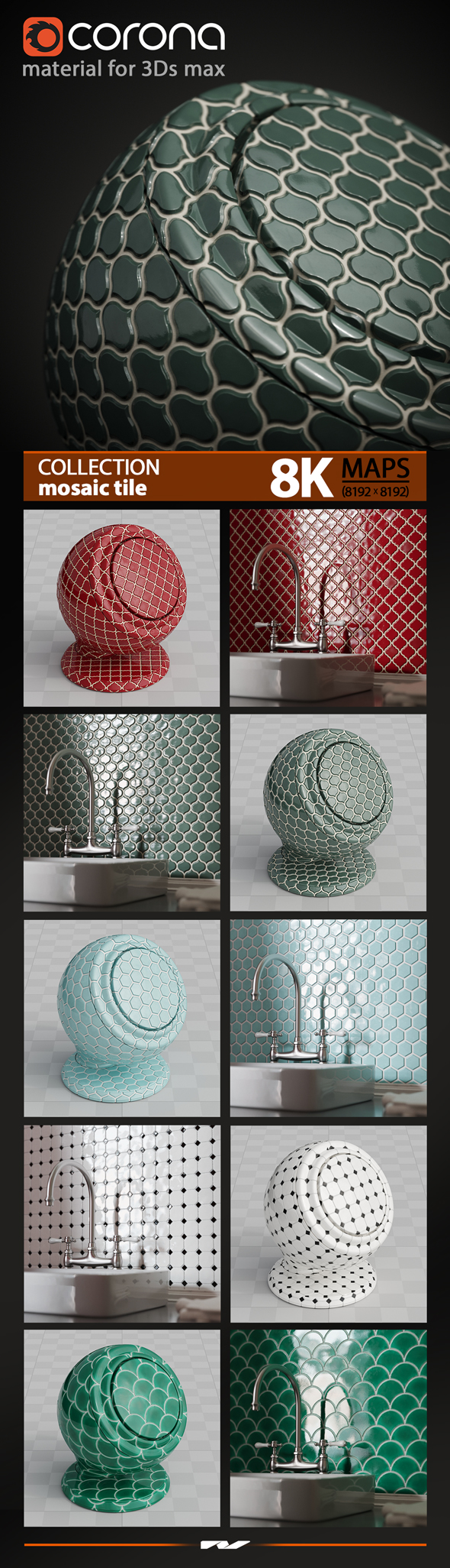3Ds max Mosaic Tile Material. Corona render - 3DOcean Item for Sale