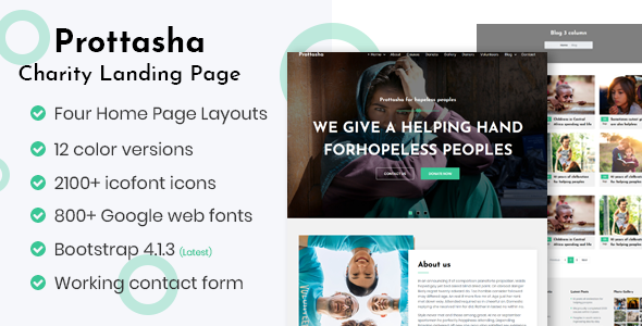 Prottasha - Bootstrap 4 Charity Landing Page by ThemeAtelier