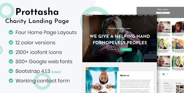 Prottasha - Bootstrap 4 Charity Landing Page - Charity Nonprofit