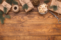 Craft Christmas presents on wooden table, copy space - PhotoDune Item for Sale