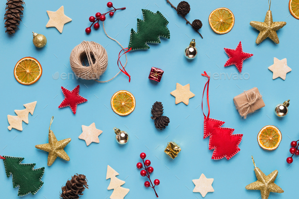 Christmas holiday decorations collection on blue background - Stock Photo - Images