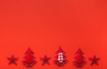 Red Christmas background with handmade felt decorations - PhotoDune Item for Sale