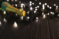 Champagne bottle and garland on dark background - PhotoDune Item for Sale
