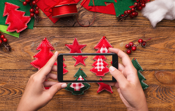 New Year's blog mobile photo on wooden background - Stock Photo - Images