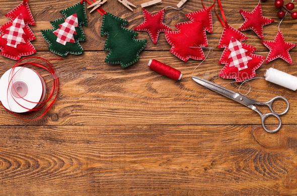 Making of handmade christmas toys from felt - Stock Photo - Images