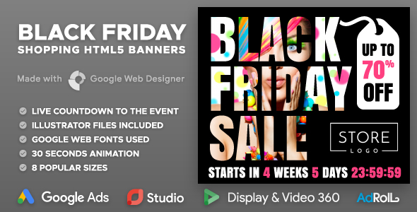 Black Friday Sale - Shopping HTML5 Banners with Live Countdown (GWD)            Nulled