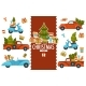 Merry Christmas, Cars Transporting Pine Trees  - GraphicRiver Item for Sale