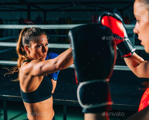 Women on boxing training - Stock Photo - Images