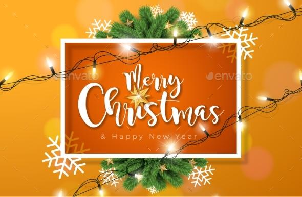 merry christmas illustration with lights garland christmas seasonsholidays