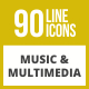 90 Music & Multimedia Line Inverted Icons - GraphicRiver Item for Sale