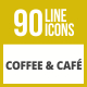 90 Coffee & Cafe Line Inverted Icons - GraphicRiver Item for Sale
