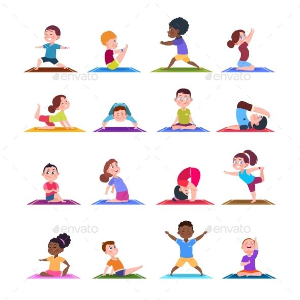Children in Yoga Poses.  - Characters Vectors