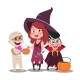 Halloween Trick or Treat Kids in Festive Costumes - GraphicRiver Item for Sale