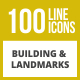 100 Building & Landmarks Line Inverted Icons - GraphicRiver Item for Sale
