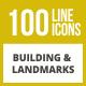 100 Building & Landmarks Line Inverted Icons - GraphicRiver Item for Sale