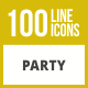 100 Party Line Inverted Icons - GraphicRiver Item for Sale