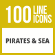 100 Pirate & Sea Line Inverted Icons - GraphicRiver Item for Sale