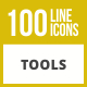 100 Tools Line Inverted Icons - GraphicRiver Item for Sale