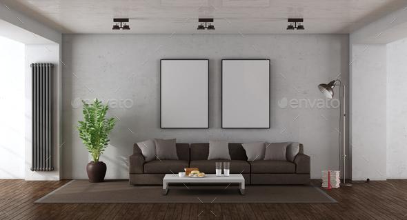 Minimalist living room - Stock Photo - Images