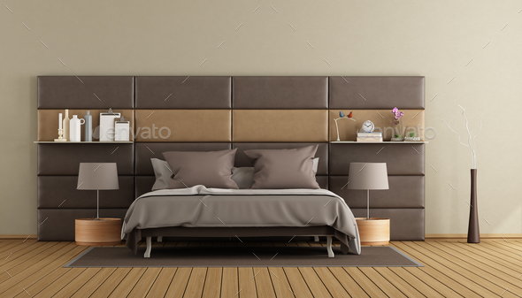 Elegant master brown master bedroom - Stock Photo - Images