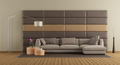 Brown sofa against leather panels - PhotoDune Item for Sale
