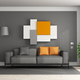 Gray and orange living room - PhotoDune Item for Sale
