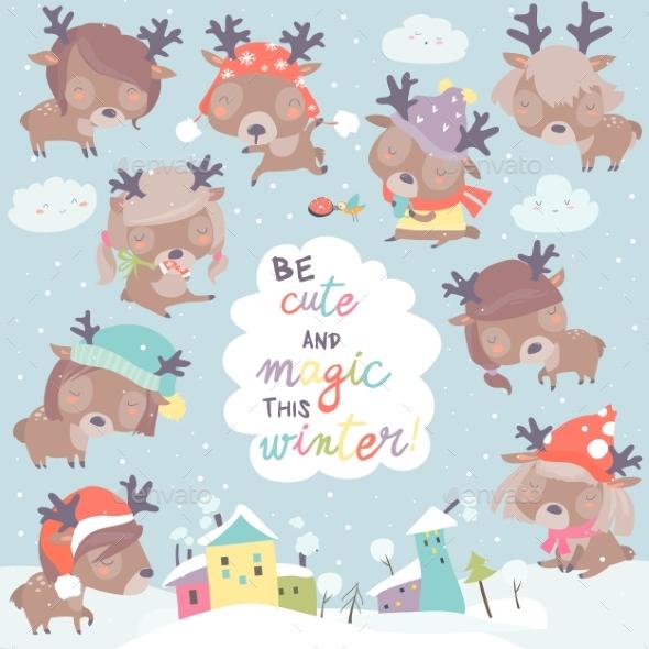 Set with Deer on Winter Background - Christmas Seasons/Holidays