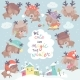 Set with Deer on Winter Background - GraphicRiver Item for Sale