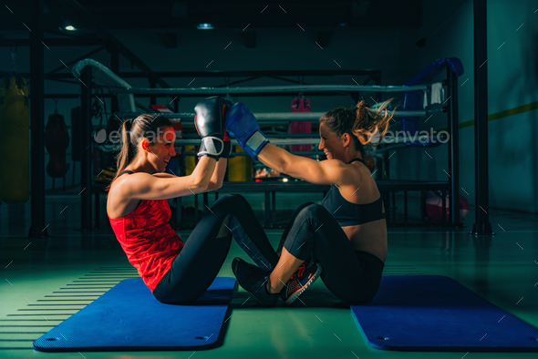 Women on boxing training - Stock Photo - Images