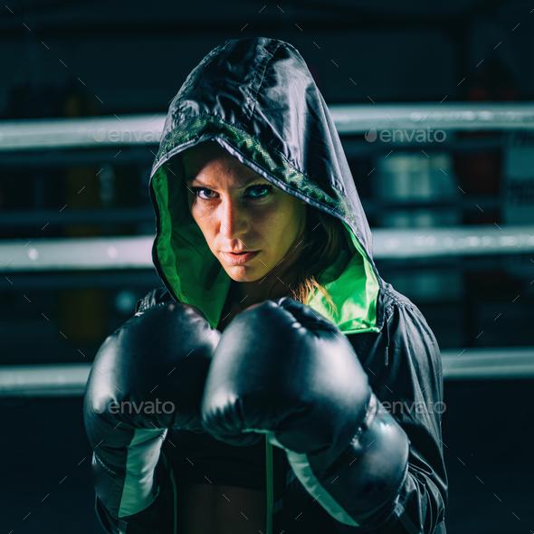 Portrait of female boxer - Stock Photo - Images