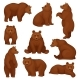 Flat Vector Set of Large Bear in Different Poses - GraphicRiver Item for Sale