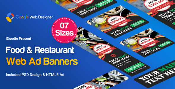 Food & Restaurant Banners Ad Template            Nulled