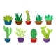 Flat Vectoe Set of Different Cacti in Colorful - GraphicRiver Item for Sale