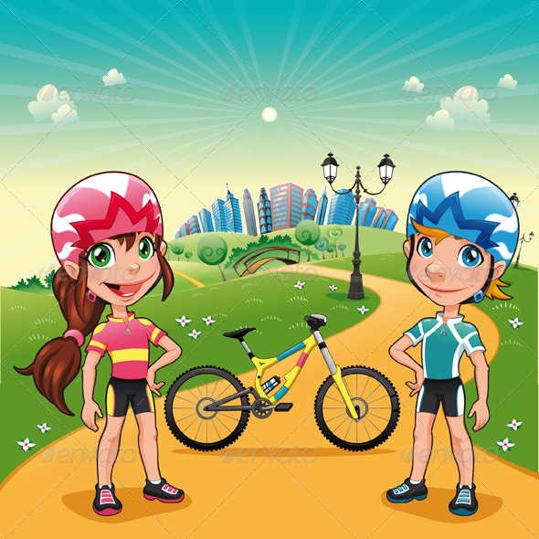 Park with young bikers. - Sports/Activity Conceptual