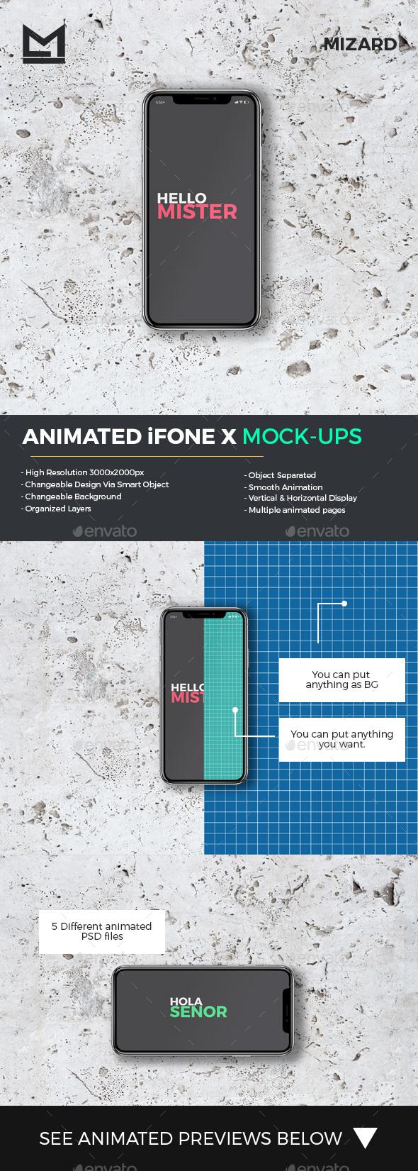 Animated iFone X Mock-Ups - Mobile Displays