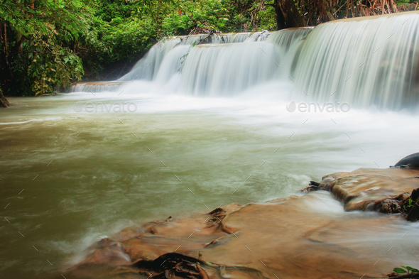 Waterfall in nature of spring - Stock Photo - Images
