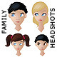 Family Headshots - Mum, Dad, Son, Daughter - GraphicRiver Item for Sale